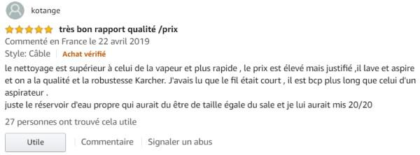 Retour client nettoyeur Karcher FC5