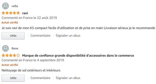 Commentaires Amazon Kärcher K5 Compact